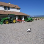 Tractor in front of house